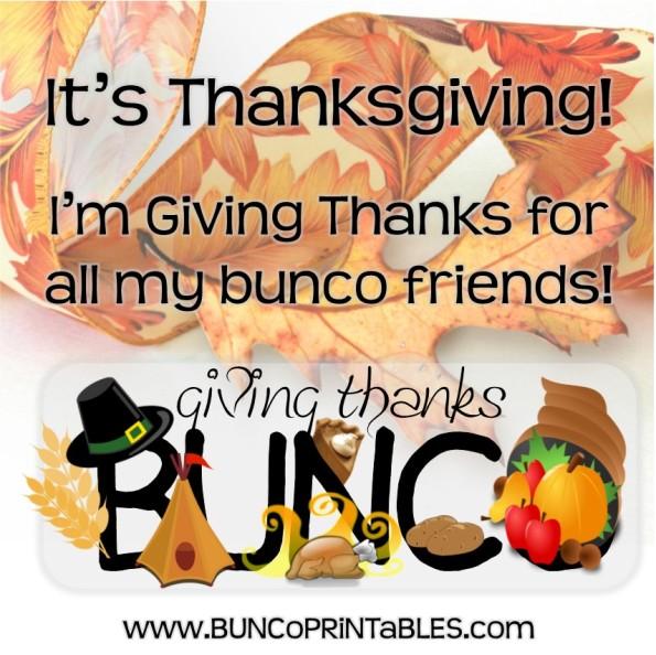 giving thanks bunco