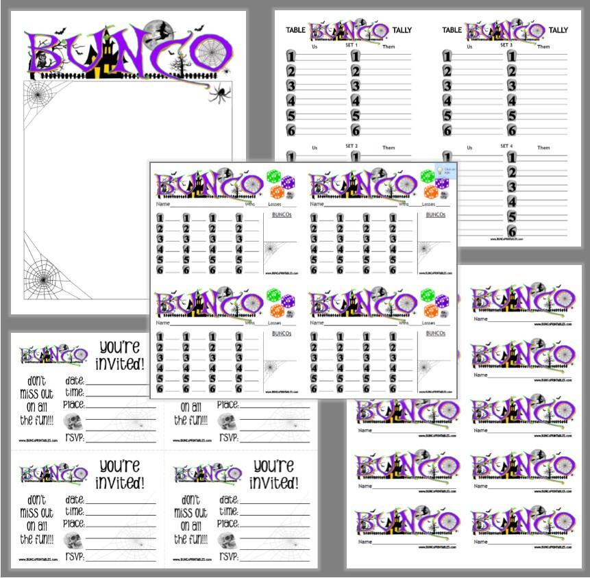 photo relating to Printable Bunco Sheets named Haunted Halloween Bunco - Bunco Printables