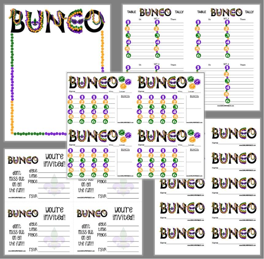 image about Bunco Rules Printable titled Mardi Gras Insanity Bunco - Bunco Printables