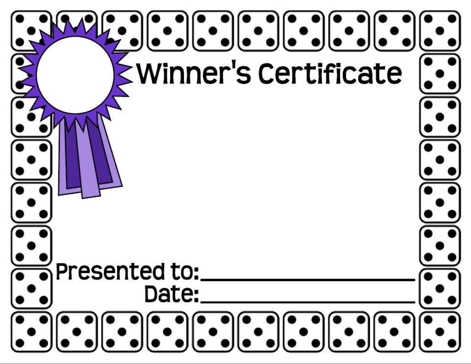Bunco Winners Certificate  Certificate Winner