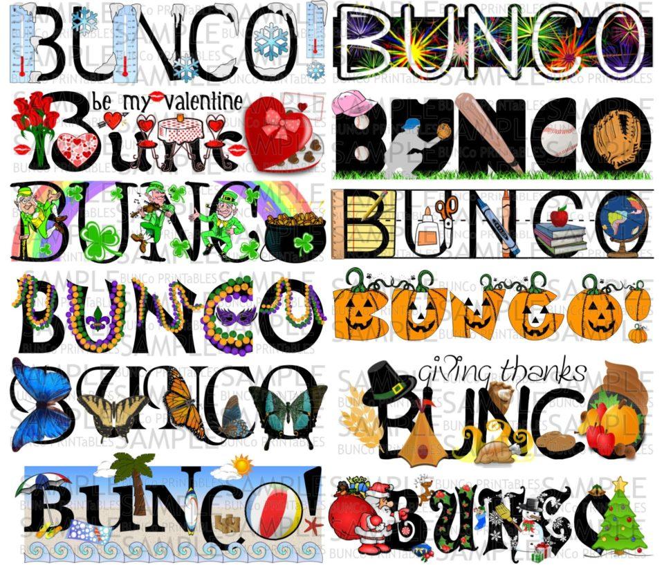 One Year of Bunco Sets | Bunco Printables